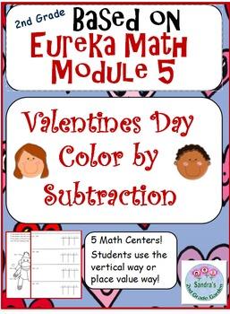 2nd Grade Eureka Math Module 5 Valentine's Day Color by Su