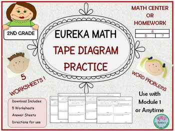 2nd Grade Eureka Math Word Problems with Tape Diagram Prac