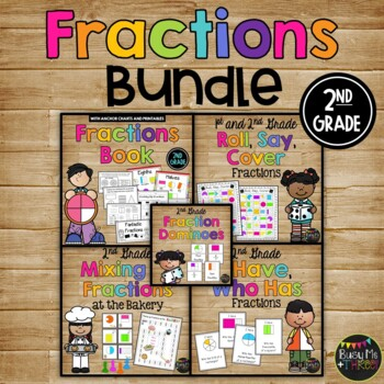 {2nd Grade} FRACTIONS SET with Book, Games, Whole Group &