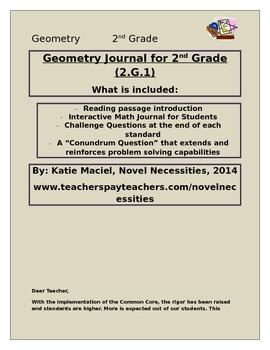 2nd Grade Geometry Interactive Student Journal