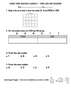 2nd Grade Go Math Chapter 1 Quick Quizzes