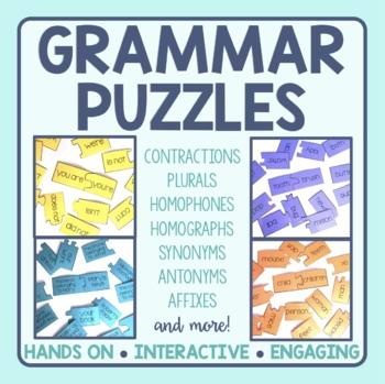 2nd Grade Grammar Matching Puzzles Bundle