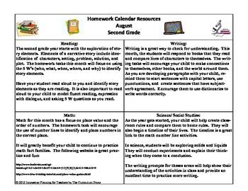 2nd Grade Homework Calendar For the Year