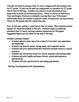 2nd Grade, How-To Writing Unit of Study, Journeys Lesson 9