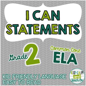 2nd Grade I Can Statements Common Core ELA
