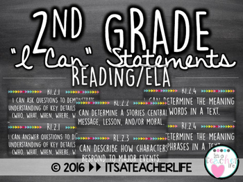 2nd Grade I Can Statements | ELA/Reading Wall Cards