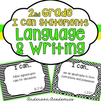 "2nd Grade ""I Can"" Statements: Writing, Speaking & Listenin"