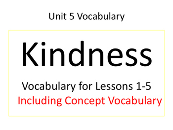 2nd Grade Imagine It! Unit 1 Kindness Vocabulary Cards