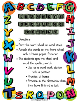 2nd Grade Journeys Spelling Wheels for Unit 4 Lessons 16-20