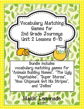 2nd Grade Journeys: Unit 2 Lessons 6-10 Vocabulary Match G