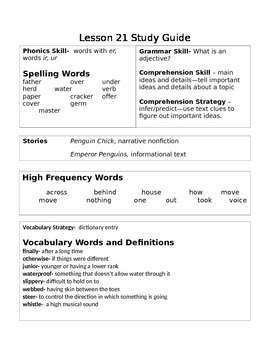 2nd Grade Journeys Unit 5 Study Guide (s)