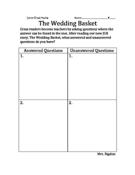 2nd Grade Junior Great Books- THE WEDDING BASKET Answered