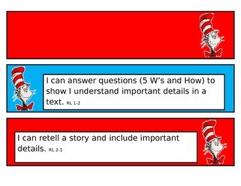 """2nd Grade Language Arts """"I Can Statements""""--Dr Seuss Themed"""