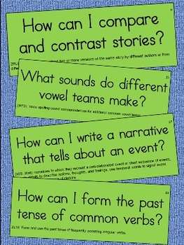 2nd Grade Language Essential Question Cards for Display -