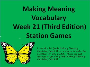 2nd Grade Making Meaning Vocabulary Week 21 (Third Edition