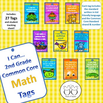 2nd Grade Math Common Core Brag Tags