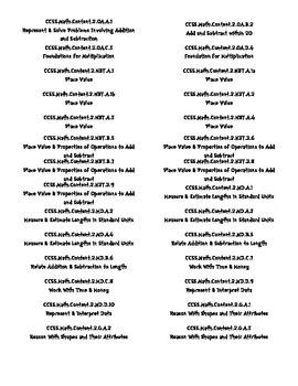 2nd Grade Math Common Core Folder Labels