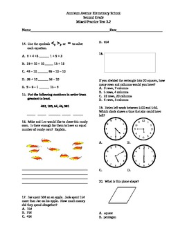 2nd Grade Math Common Core Mixed Practice Tests