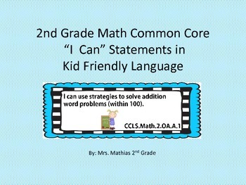 "2nd Grade Math Common Core Standards ""I Can"" Statements in"