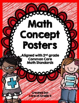 2nd Grade Math Concept Posters Shapes Time Money Addition