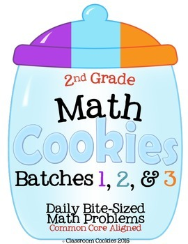 2nd Grade Math Cookies Bite-Sized Math Problems CC Aligned