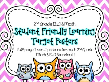2nd Grade Math & ELA Student Friendly Learning Target Post