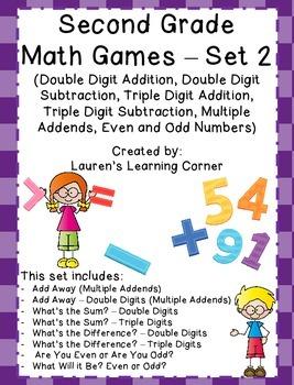 2nd Grade Math Games - Set 2 - Common Core Aligned
