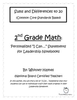 "2nd Grade Math ""I Can..."" Statements for Leadership Notebook"