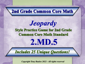 2nd Grade Math Jeopardy Game - Addition And Subtraction Wo