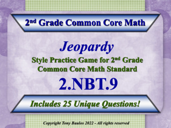 2nd Grade Math Jeopardy Game - Addition & Subtraction Word