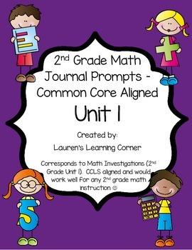 2nd Grade Math Journal Prompts - Unit 1 Investigations