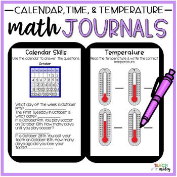 2nd Grade Math Journals {Time, Temperature, Calendar}