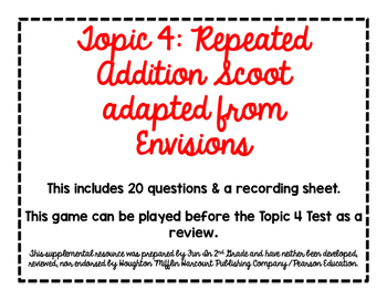 2nd Grade Math Scoot Game for Topic 4 adapted from Envisio