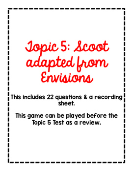 2nd Grade Math Scoot Game for Topic 5 adapted from Envisions