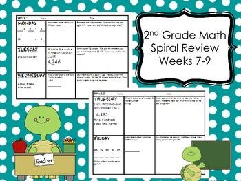2nd Grade Math Spiral Review - Weeks 7-9