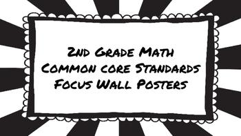 2nd Grade Math Standards on Black Sunburst Frame