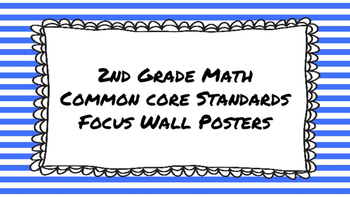 2nd Grade Math Standards on Blue Striped Frame