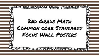 2nd Grade Math Standards on Brown Striped Frame