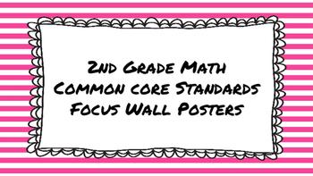 2nd Grade Math Standards on Pink Striped Frame