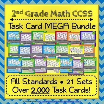 2nd Grade Math Task Cards: 2nd Grade Task Cards, Math Cent