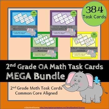 2nd Grade OA Task Cards 2.OA: ALL Operations & Algebraic T