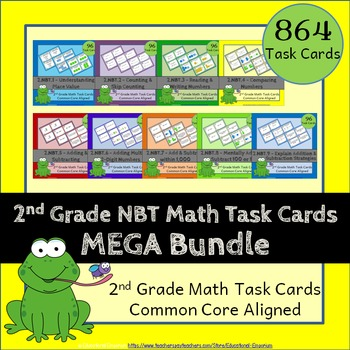 2nd Grade Math Task Cards Bundle - ALL Numbers and Operati