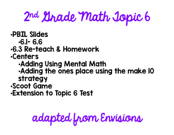 2nd Grade Math Topic 6 Pack adapted from Envisions
