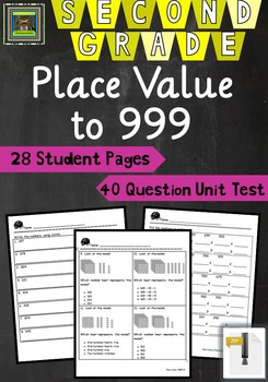 2nd Grade Unit & Test: Place Value to 999 (TEKS, STAAR, Co