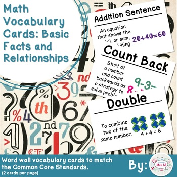 2nd Grade Math Vocabulary Cards: Basic Facts and Relations