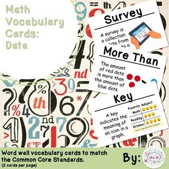 2nd Grade Math Vocabulary Cards: Data (Large)