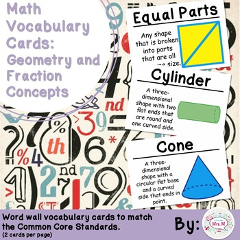 2nd Grade Math Vocabulary Cards: Geometry and Fraction Con