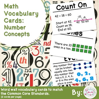 2nd Grade Math Vocabulary Cards: Number Concepts (Large)