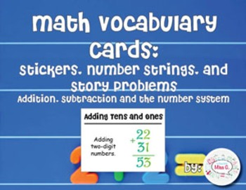 2nd Grade Math Vocabulary Cards: Stickers, Number Strings,