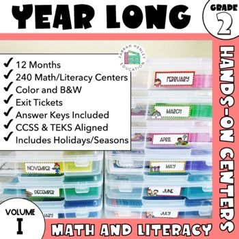 2nd Grade Math and ELA Stations--ENTIRE YEAR BUNDLE